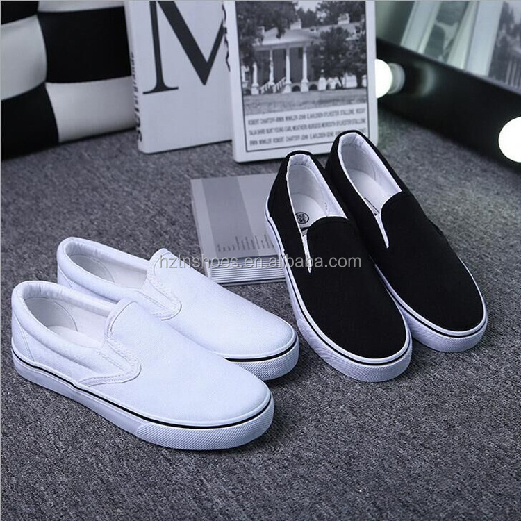 Casual shoes with the slip on style for both men and women canvas shoes women white vulcanized Low cut white canvas sneakers