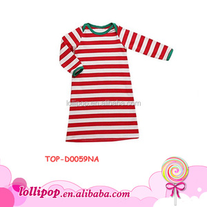 Latest christmas dresses red white stripe green trim girls cotton frock designs Christmas one piece girls pajamas dresses