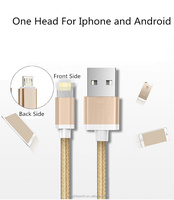 2016 New arrival factory price 2 in 1 two side metal usb cable in one head with two functions for Android and IPhone mobile