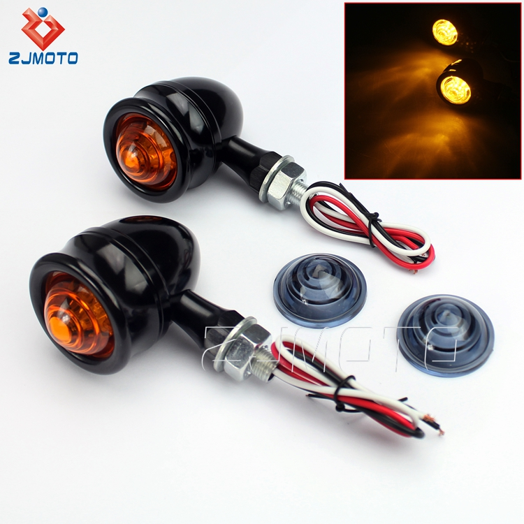 ZJMOTO High Quality Aluminum Black LED 10MM Bullet Indicators For Custom Motorcycles