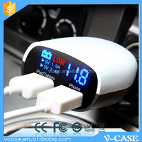 Factory selling portable with led display dual usb 12v car battery charger with CE