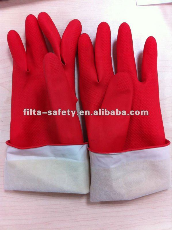 Long cuff cotton line in natural rubber latex household gloves FHG024