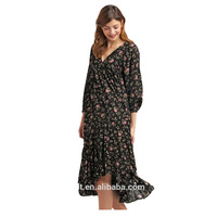 Wholesale Fashion Floral Printed Lady Long Dress
