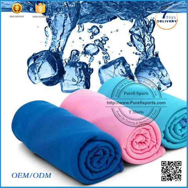 2016 Antibacterial sublimation custom logo printed gym cool ice hot sale ice cold cooling <strong>towel</strong> for summer