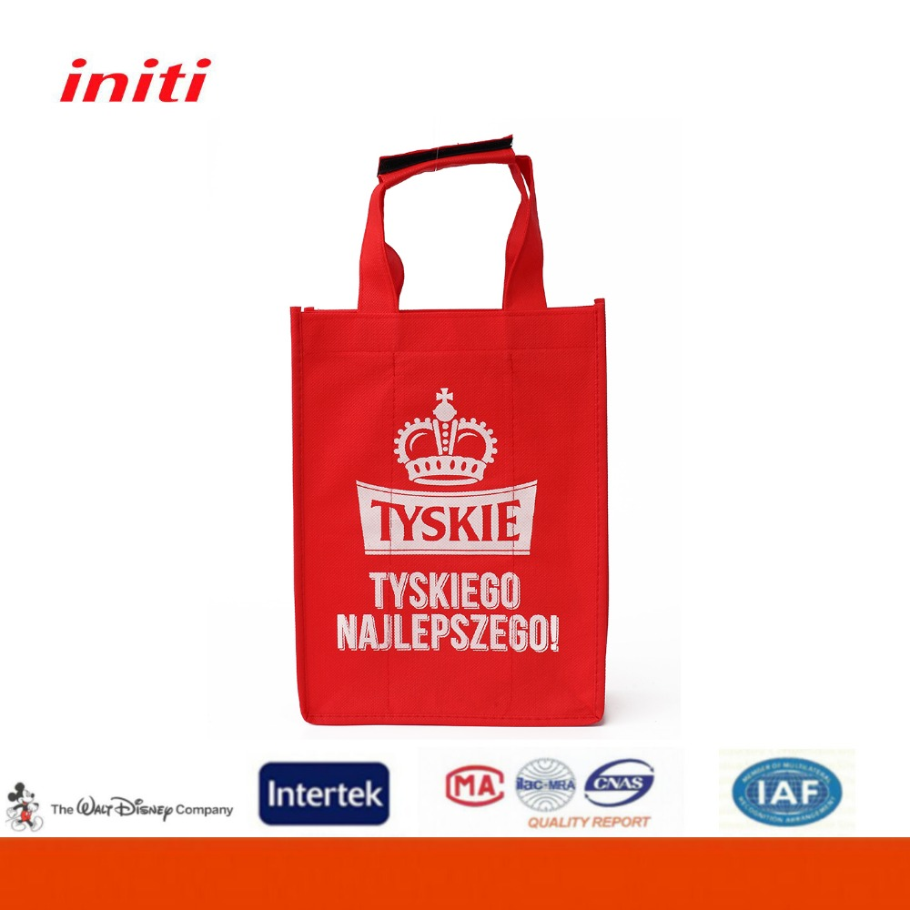 Initi Wholesale promotion 6 bottle wine bag water Red bottle carrier bag