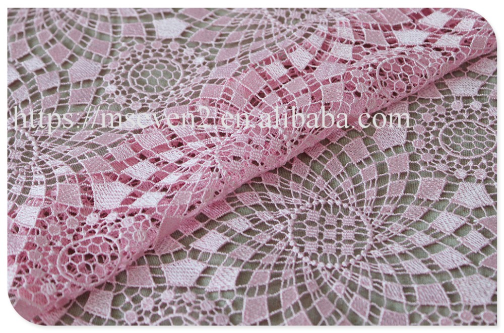 Good price beautiful pink allover water soluble lace fabric for garment