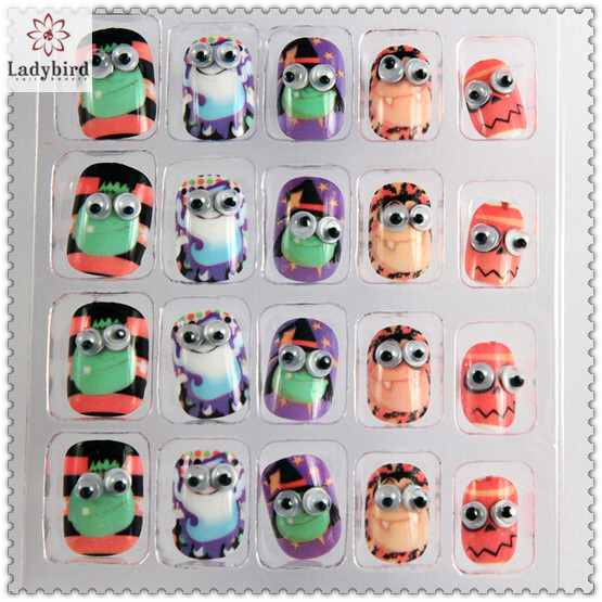 3d cute googly eyes character design nail tips fake nails