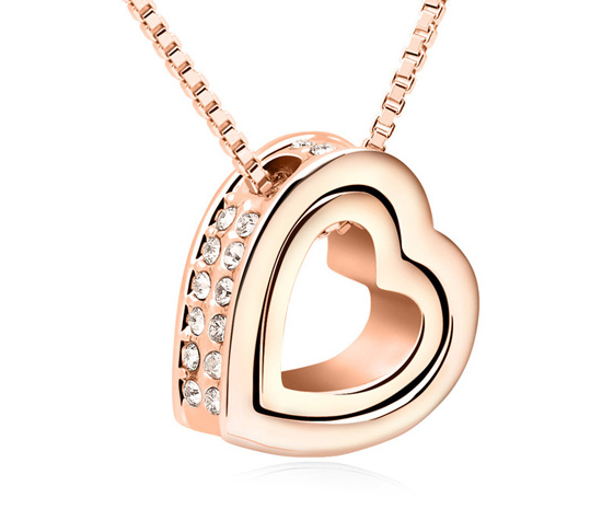 Heart rose gold necklace jewelry Made With <strong>crystal</strong> from Swarovski pendant