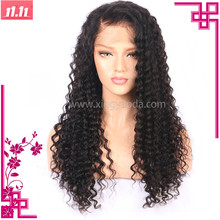 Wholesale Natural Color Brazilian Virgin 100% Human Hair Deep Wave Full Lace Wig