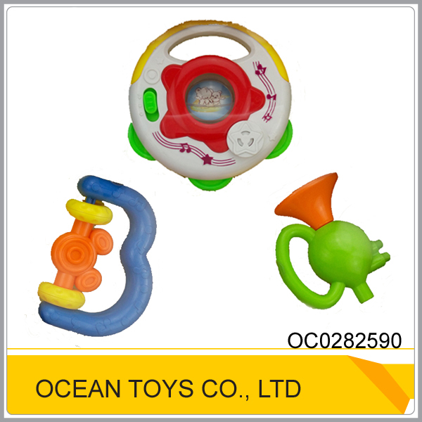 Hot design plastic musical baby toy rattles set with 6pcs OC0282590