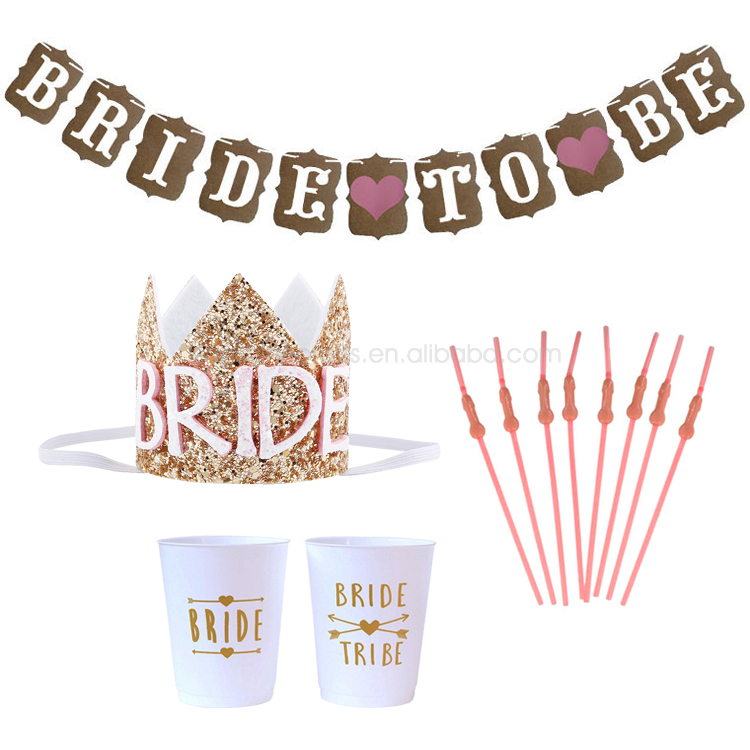 Bride To Be Banner Glitter Paper Crown Funny Straw Bachelorette Party Cups