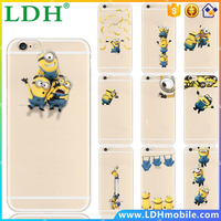 Soft Cartoon TPU Back Case Cover Skin Coque Para For iPhone 6 Plus 5.5 Case Transparent Cover Minions for iPhone 6s Plus case
