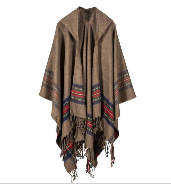 Winter Europe and America Bohemian Imitated Cashmere Cloak wool and knitted Scarf