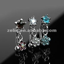 316L body piercing with star shaped diamond dangle flower eyebrow rings jewelry