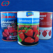 425ml can size Canned strawberry, E120/E129/no color canned strawberries in light syrup, made from fresh strawberry
