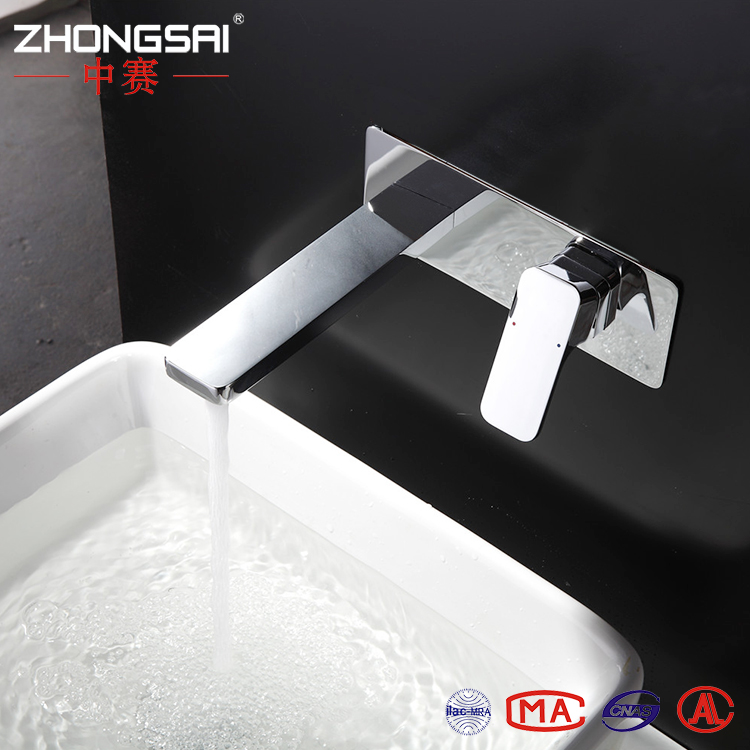 Lavatory wall mounted Brass Single level Wash Basin mixer with Chrome Finished Hot and Cold