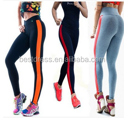 walson High Waist Gym Yoga cotton leggings Neon stripe Leggings For Women Supper Stretched Fitness sports pants