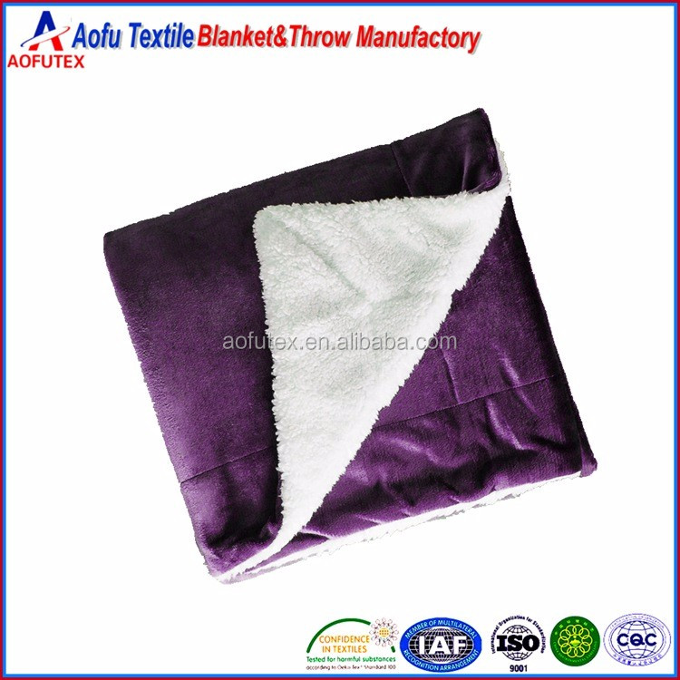 Purple 2 ply Home Textile Sherpa Blankets Solid Color Flannel Throw Blanket for sofa bedroom