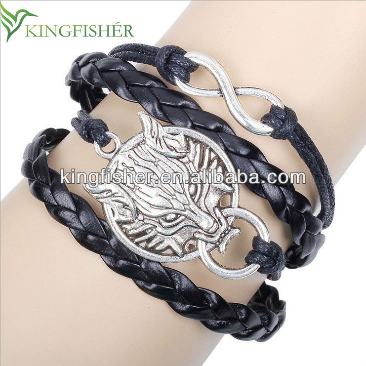 2014 Vintage wolf head connecter men's leather bracelet wholesale!! High quality rope braided men's leather bracelet suppliers!!