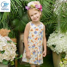 New Model Summer Girls Sleeveless Flower Dresses 2016 Tinta Roriz T16307