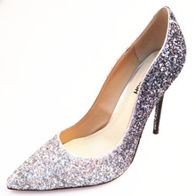 2018 New design Glitter fabric shoes women wedding party high heels shoes