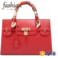 CR best selling products in europe new arrival lady leather handbag with scarf fashion red hand bags for women pu leather 2018