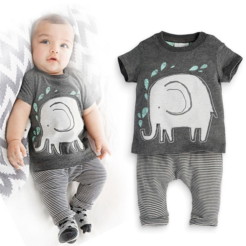 2016 baby boys summer clothing set cotton striped cartoon elephant T shirt pant 2 pieces kids export clothing