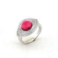 The Latest Fashion White Gold Plated Red Cat Eye Ring