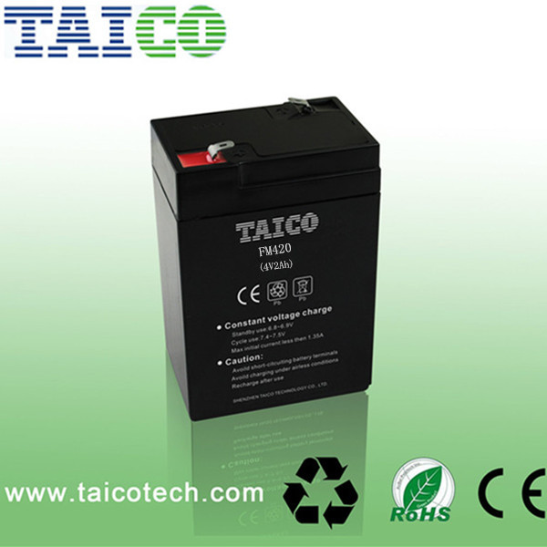 Hot sale rechargeable storage vrla 4v 2ah sealed lead acid battery