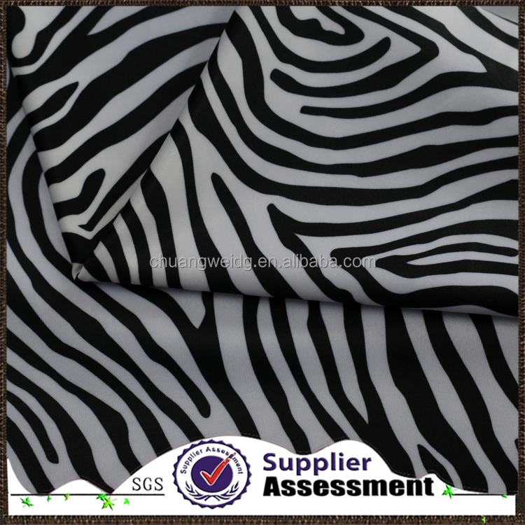breathable lycra 4 way stretch zebra print fabric for sportswear