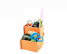 Two Compartments, Office Desk Organizers Small Ltems Wooden Storage Box for Space-saving