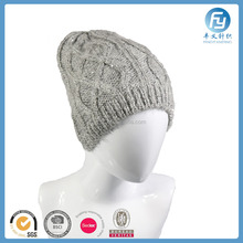 acrylic winter cable knitted beanie lady beanie cap