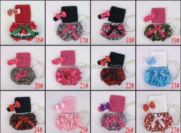 wholesale adorable baby diaper and crochet tube top3 sets , satin baby bloomers, baby ruffle bloomers , Toddler Cute bloomer
