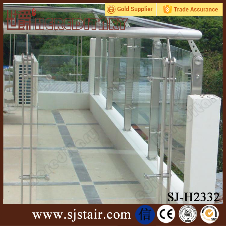 outdoor balustrading crystal tempered glass stainless steel stairs railing balcony deck fence post