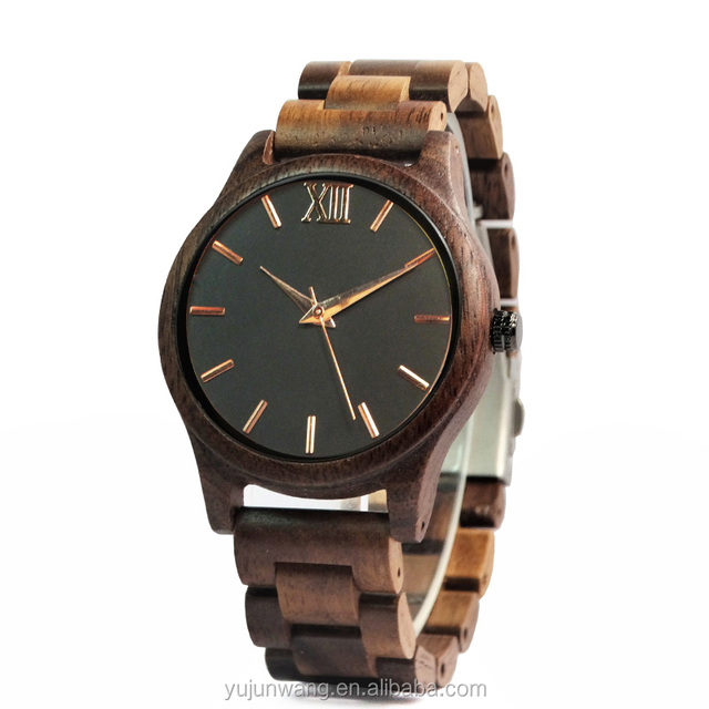 Wholesale China Gold Hands Black Face Handmade Watches Men Luxury Wooden Watches