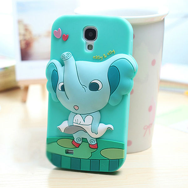 Fancy 3d animal silicone cell phone cover case for samsung galaxy s4