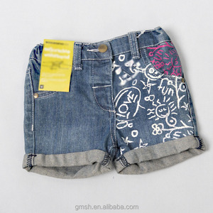 Fashion kids girl denim shorts with doodle printing adorable short jeans