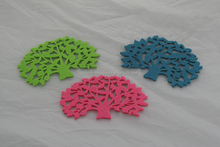 small colorful felt coasters and cup mats with chrismas tree shape