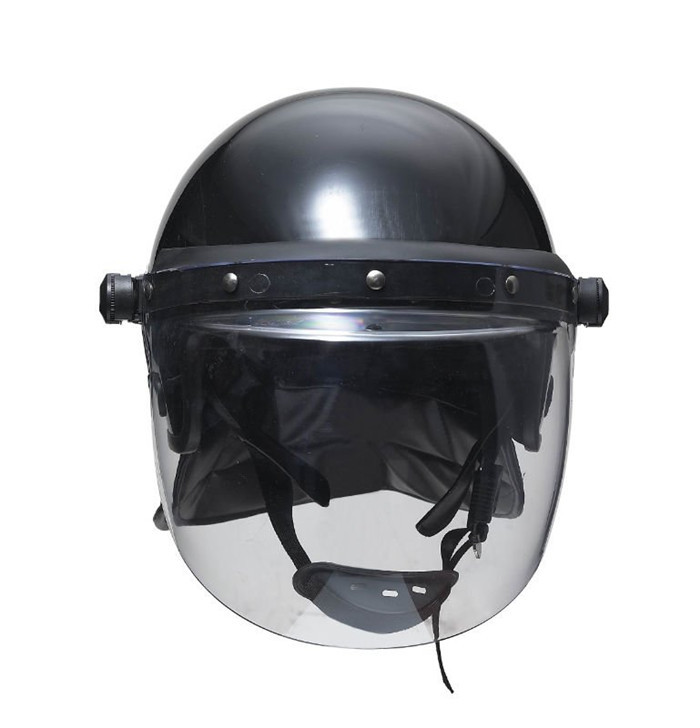 Anti Riot Police Helmet With Face Shield Black and Neck Protector