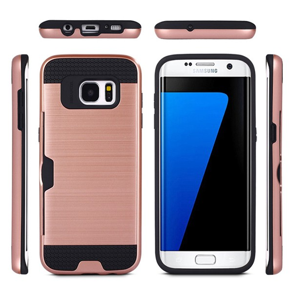 S7E004 Mobile Phone Hybrid Case Cover for Samsung Galaxy S7 Edge , Wire-Drawing PC TPU Case for Samsung Galaxy S7 Edge
