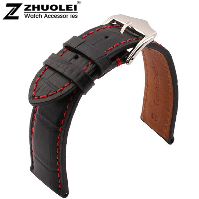 Highquality 18mm 19mm 20mm 21mm 22mm 23mm 24mm New Black Genuine Leather Watchband Watch Strap bracelet men  With Red stitching