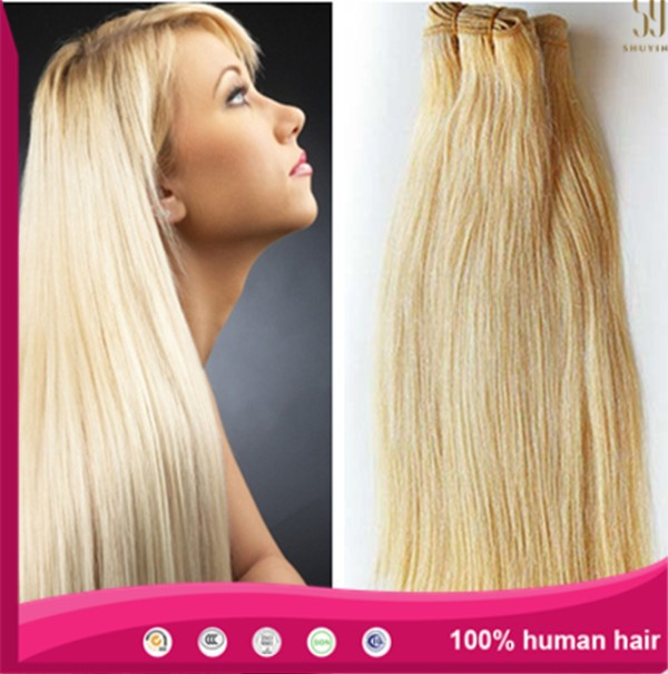 Double drawn white blonde 613 color European remy human hair extensions blonde hair weft hair weaving