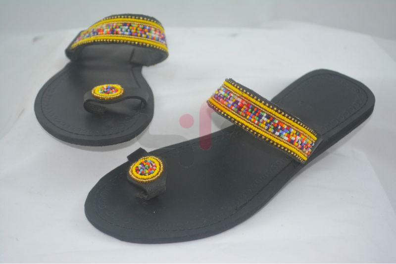 Beaded Yellow themed Maasai Sandals