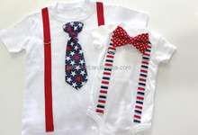 Boutique Customized July 4th Patriotic Baby Girls Cotton Casual Summer Rompers Wholesale