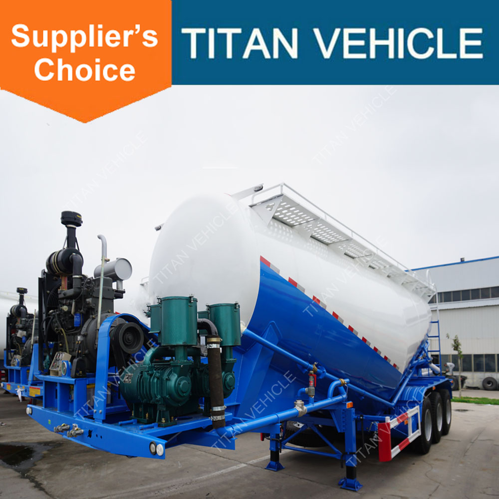Titan 3 Axle Bulk Cement Trailer For Pakistan / Dry Cement Tank container / Dry Bulk Cement Powder Truck