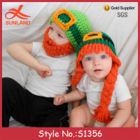 S1356 New fashion Saint Patricks Day beanie beard hats funny winter kids hats