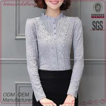 Hot selling new design sleeveless lace top T-shirt oem service china+supplier+clothing