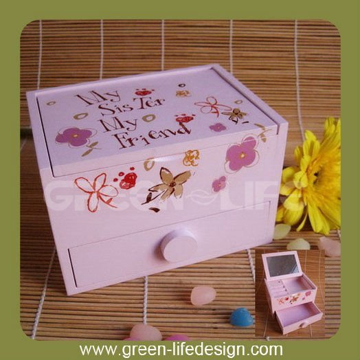 Wooden Recordable Jewel Box with Mirror