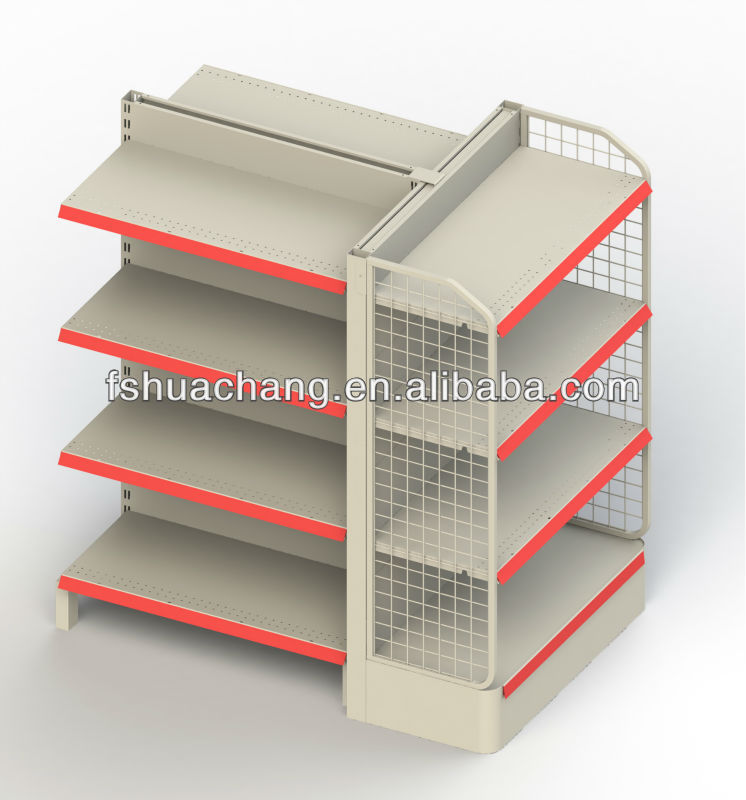 supermarket shelving racks with end shelf and sidebar for food commodities