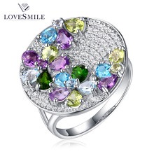Guangzhou jewelry new arrival finger ring latest design ladies sterling silver gemstone rings
